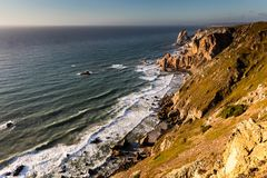 Cape Roca, the westernmost extent of continental Europe. Cape Roca forms the westernmost extent of mainland Portugal, continental Europe and the Eurasian land Royalty Free Stock Photography