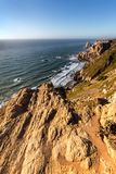 Cape Roca, the westernmost extent of continental Europe. Cape Roca forms the westernmost extent of mainland Portugal, continental Europe and the Eurasian land stock photos