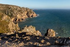 Cape Roca, the westernmost extent of continental Europe. Cape Roca forms the westernmost extent of mainland Portugal, continental Europe and the Eurasian land Royalty Free Stock Photos