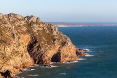Cape Roca, the westernmost extent of continental Europe. Cape Roca forms the westernmost extent of mainland Portugal, continental Europe and the Eurasian land royalty free stock image
