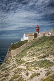 Cape Saint Vincent lighthouse in Algarve, Portugal royalty free stock images
