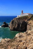 Cape Saint Vincent Lighthouse in Sagres, Algarve, Portugal. Royalty Free Stock Photo