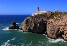 Cape Saint Vincent Lighthouse in Sagres, Algarve, Portugal. Portugal, Algarve Region, Vila do Bispo, Sagres, Lighthouse at Cape Saint Vincent -  Cabo Sao Royalty Free Stock Photo