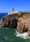 Cape Saint Vincent Lighthouse in Sagres, Algarve, Portugal. Stock Image