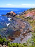Cape Schanck Geology. Photograph taken at Cape Schanck looking down the cliffs to the pounding ocean swell, featuring the boardwalk (Mornington Peninsula Stock Photo