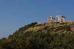 Cape Sounion in Greece. Temple Poseidon, Cape Sounion in Greece Royalty Free Stock Photography