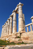 Cape Sounion in Greece. Temple Poseidon, Cape Sounion in Greece Royalty Free Stock Images