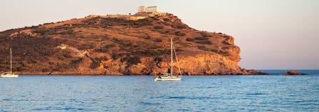 Cape Sounion, Poseidon's temple, Attica, Greece Stock Photos