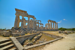 Cape Sounion. The site of ruins of an ancient Greek temple of Poseidon, the god of the sea in classical mythology. Stock Photography