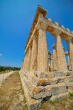 Cape Sounion. The site of ruins of an ancient Greek temple of Poseidon, the god of the sea in classical mythology. Stock Photos
