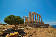 Cape Sounion. The site of ruins of an ancient Greek temple of Poseidon, the god of the sea in classical mythology. Stock Image
