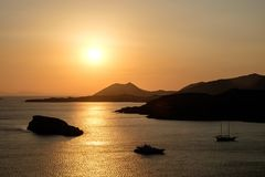 Cape Sounion Sunset, Ancient temple of Poseidon, Cape Sounio. Greece royalty free stock images