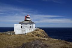 Cape Spear light keeper cottage. Historic 19th century lighthouse keeper residence with the ocean in the background at Cape Spear National Historic site, Avalon stock images