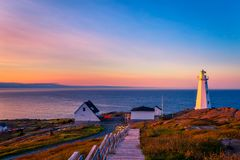 Cape Spear Lighthouse at Newfoundland. View of Cape Spear Lighthouse at Newfoundland, Canada, during sunset royalty free stock images