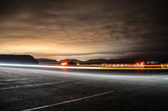 Cape Spear parking lot by night royalty free stock photo