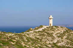 Cape Spencer Lighthouse. Undulating dirt track along a heather covered ridge leading to the Cape Spencer Lighthouse. Innes National Park, Yorke Peninsula, South Royalty Free Stock Image