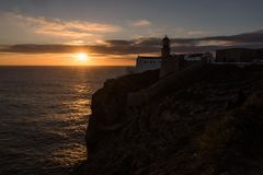 Cape St. Vincent lighthouse Cabo de Sao Vicente Royalty Free Stock Images