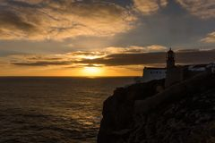 Cape St. Vincent lighthouse Cabo de Sao Vicente Royalty Free Stock Image