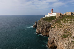 Cape St . Vincent Lighthouse near Sagres, Portugal Royalty Free Stock Photos