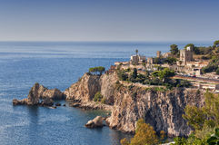 Cape Taormina. View of cape of Taormina in Sicily. Photo taken on: September, 2016 royalty free stock photo