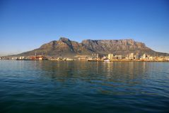 Cape Town. Seen from a sailing boat royalty free stock image