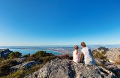 Cape Town from above. Family mother and daughter enjoying breathtaking views of Cape Town from top of Table mountain stock photography