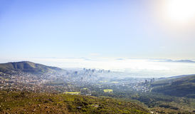 Cape Town. Aerial view of downtown Cape Town in morning fog Royalty Free Stock Image