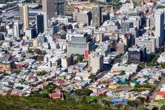 Cape Town affärsområde & Bo-Kaap antenn royaltyfria bilder