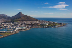 Cape Town Ariel Of Lions Head & Green Point Stadium Royalty Free Stock Photography