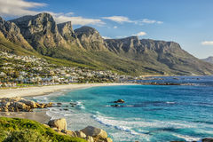 Cape Town Beach. The beautiful city of Cape Town, with its gorgeous mountains white sand beaches and clear blue water stock photo