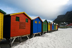 Cape Town Beach Huts. Different coloulred, wooden beach huts, in Muizenberg Cape Town, South Africa royalty free stock images