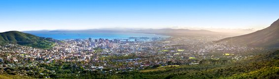Cape Town beautiful panoramic top view from Table Mountain, scenery panorama of city and sea port harbor on sunny morning, South A stock photography