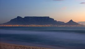 Cape Town - Bloubergstrand South Africa with a view of Table Mountain Stock Photography