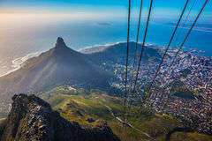 Cape Town from  cable car cabin. Travel to Africa. Panorama Cape Town, photographed from  cableway cabin. The concept of active tourism and recreation Royalty Free Stock Image