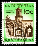 Cape Town, castle entrance, Definitive Issue - Decimal Issue serie, circa 1973. MOSCOW, RUSSIA - MARCH 23, 2019: A stamp printed in South Africa shows Cape Town stock photos