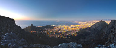 Cape Town City Lights from Table Mountain Stock Photos