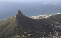 Cape Town City and Robben Island Stock Image