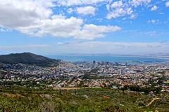Cape Town City birdseye. A birds eye view of the city of Cape Town, South Africa with a blue sky stock photo