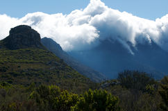 Cape Town cloud front. Winter cloud front covers Silvermine Nature reserve near cape Town Royalty Free Stock Image