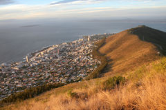 Cape Town Coastline. View of Sea Point from Lions Head, sprawling into the Atlantic Ocean Stock Images