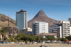 Cape town devils peak view from sea point promenade royalty free stock images