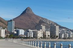 Cape town devils peak view from sea point promenade stock photos