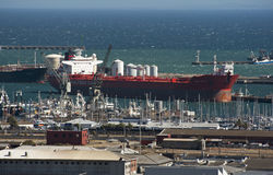 Cape Town harbour with tanker ship alongside Royalty Free Stock Images