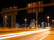 Cape Town highway. Evocative image of an urban highway and cityscape at night royalty free stock image