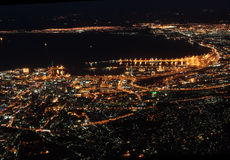 Cape Town at night. The city of Cape Town in South Africa at night as seen from Table mountain Royalty Free Stock Image