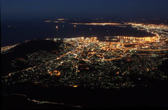 Cape Town at night. The city of Cape Town in South Africa at night as seen from Table mountain Royalty Free Stock Photo