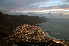 Cape Town Night. Camps Bay during the dusk twilight Royalty Free Stock Photography