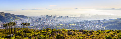 Cape Town. Panoramic aerial view of downtown Cape Town in morning fog stock photography