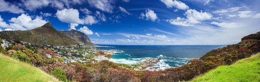 Cape Town panoramic landscape. Camp's Bay and Lion's Head mountain, coastal city between mountains, South Africa Royalty Free Stock Photos