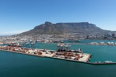 Cape Town shipping terminal with table mountain in the background stock image